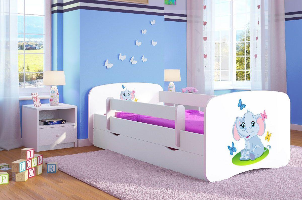 Łóżko dla dziecka z barierką Happy 2X mix 80x160 - białe
