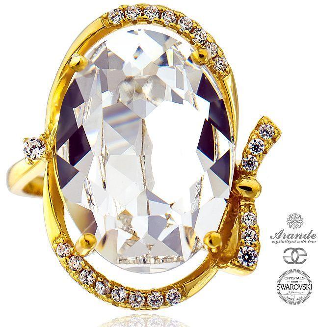 SWAROVSKI przepiękny pierścionek CRYSTAL ZŁOTE SREBRO