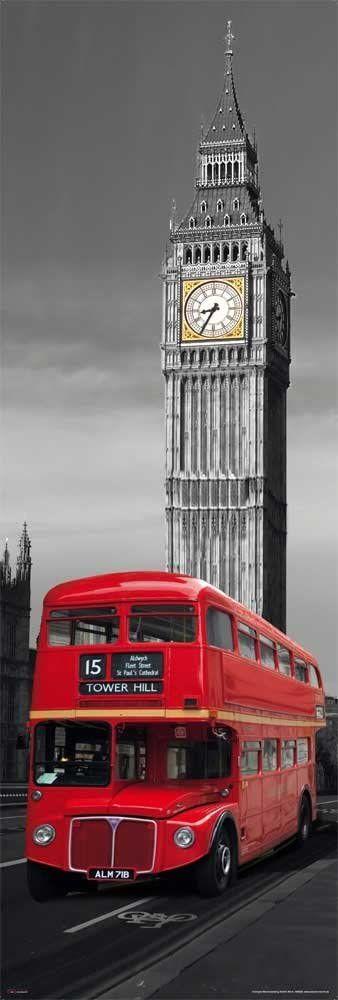 Wysoki plakat z akcesorium w Londynie czerwony autobus wzór wielokolorowe