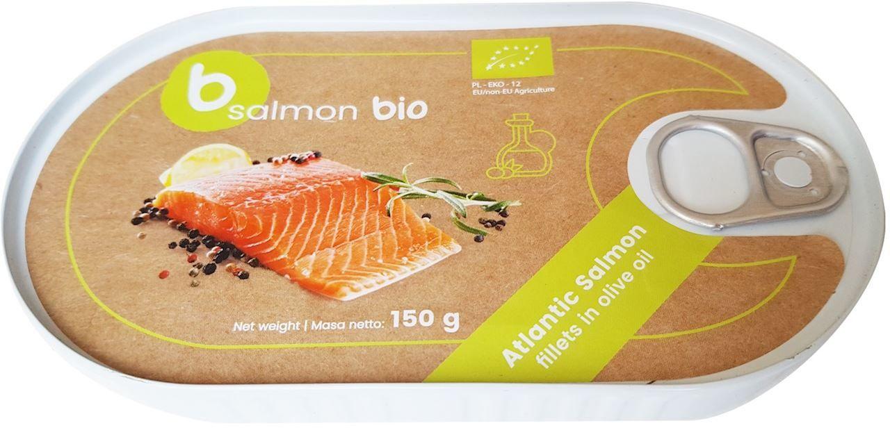 Filet z łososia w oliwie z oliwek puszka bio 150 g - b salmon