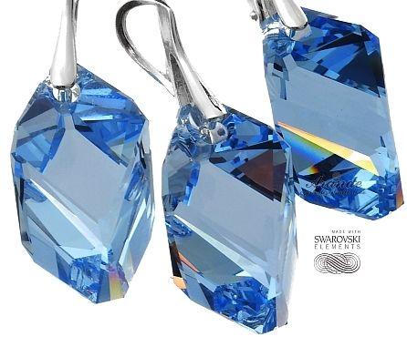 Kryształy niebieski komplet LIGHT SAPPHIRE SREBRO