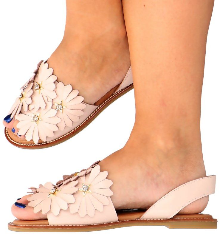 Modne sandały skórzane - MOLLY BESSA 060-631 RÓŻOWE