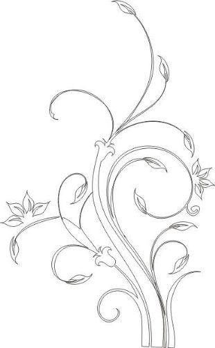 INDIGOS WG30310-10 tatuaż ścienny w310 kwiat gałęzie drzewo roślina naklejka ścienna 120 x 74 cm, biały