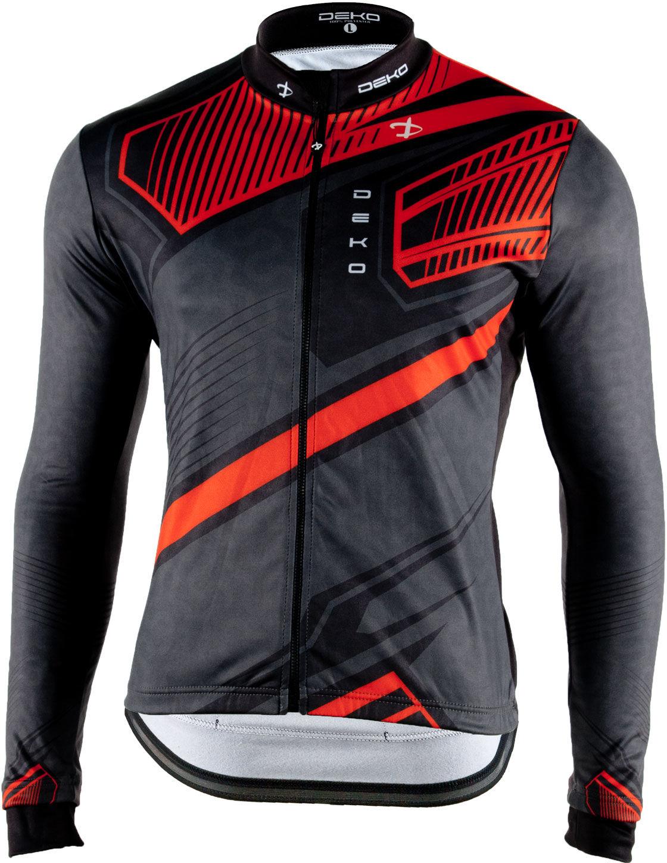 DEKO MNK-001-09 męska bluza rowerowa długi rękaw, czerwony Rozmiar: L,MNK001-09-RED