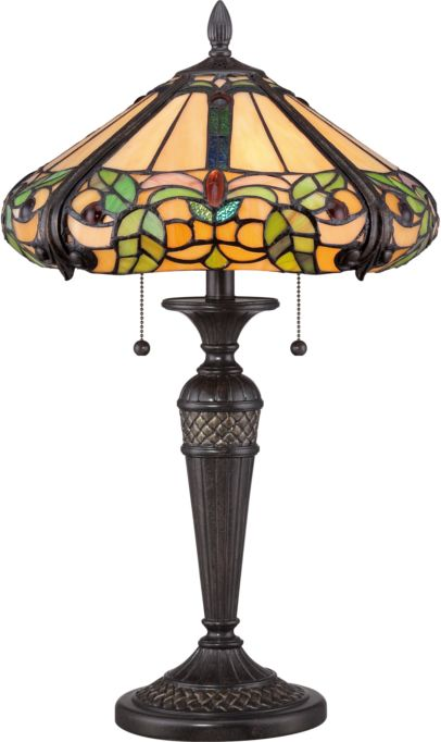 Lampa stołowa witrażowa TIFFANY HARLAND QZ/HARLAND/TL - Elstead Lighting  Skorzystaj z kuponu -10% -KOD: OKAZJA