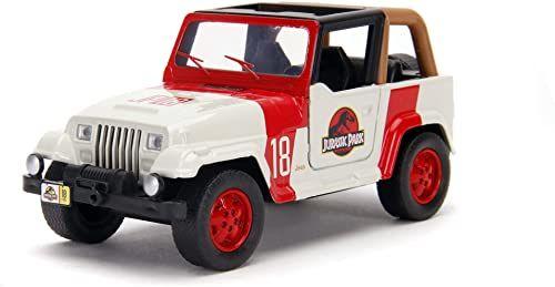 Jada Toys Jurassic Park Jeep Wrangler, model samochodu, zabawkowe drzwi, skala 1:32, wielokolorowy