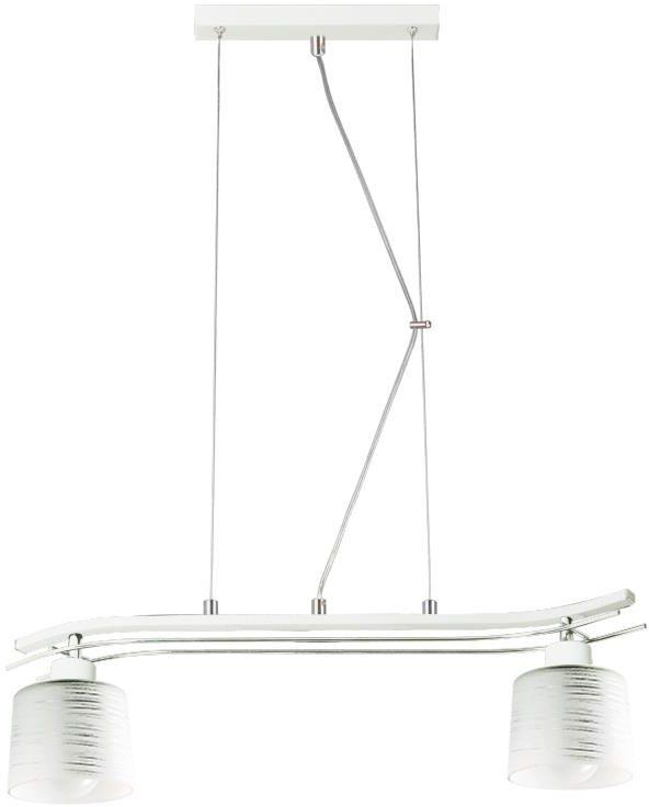 Lampex Olimp 2 723/2 BIA lampa wisząca biała klasyczna szklany klosz 2x60W E27 52cm