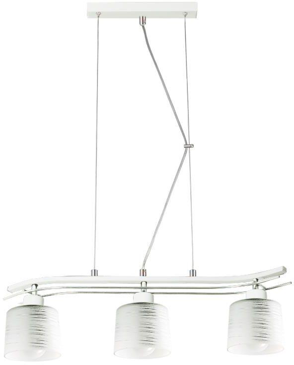 Lampex Olimp 3 723/3 BIA lampa wisząca biała szklany klosz klasyczna 3x60W E27 67cm