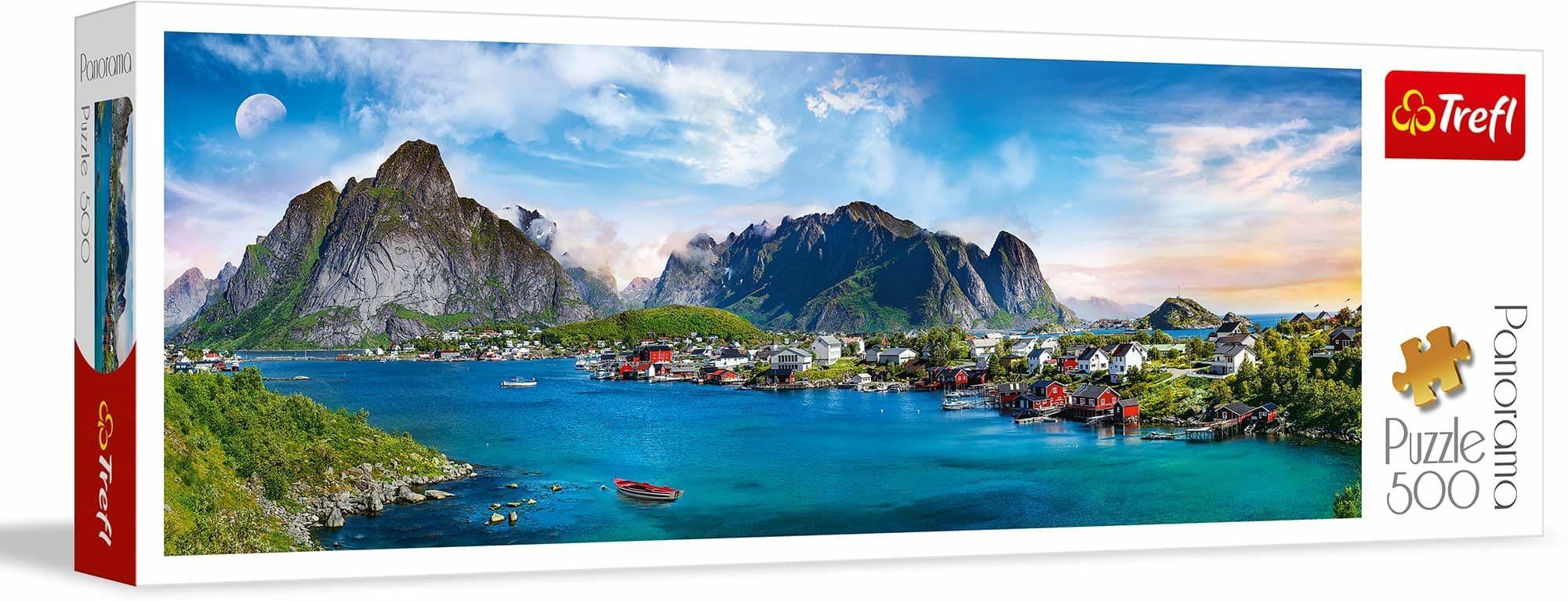 Trefl Archipelag Lofoty, Norwegia Puzzle Panoramiczne 500 Elementów o Wysokiej Jakości Nadruku dla Dorosłych i Dzieci od 10 lat