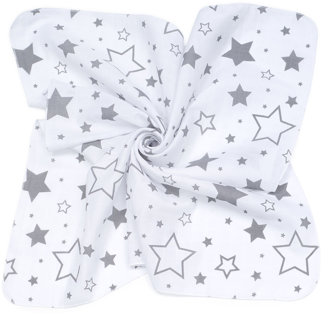 MAMO-TATO Pieluszki muślinowe pielęgnacyjne 35x35 dla niemowląt 3szt - Duże gwiazdy