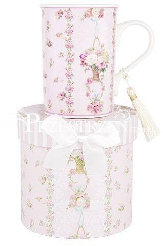 KUBEK PORCELANOWY ASHDENE - FLORAL PRINTS Pink Rose Stripe