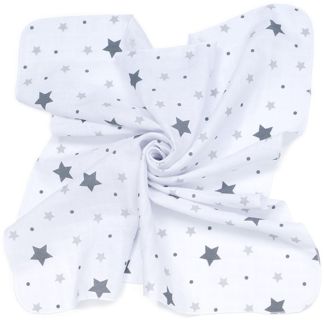 MAMO-TATO Pieluszki muślinowe pielęgnacyjne 35x35 dla niemowląt 3szt - Gwiazdy z groszkami