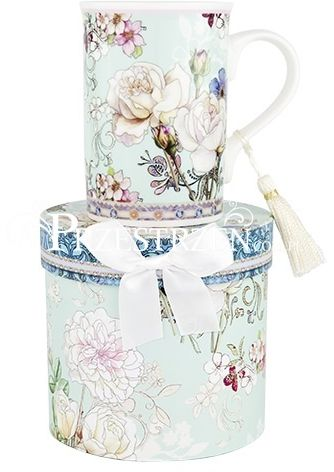 KUBEK PORCELANOWY ASHDENE - FLORAL PRINTS White Rose Blue