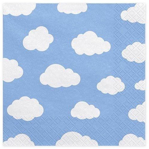 Błękitne serwetki w białe chmurki 33cm 20 sztuk SP33-14