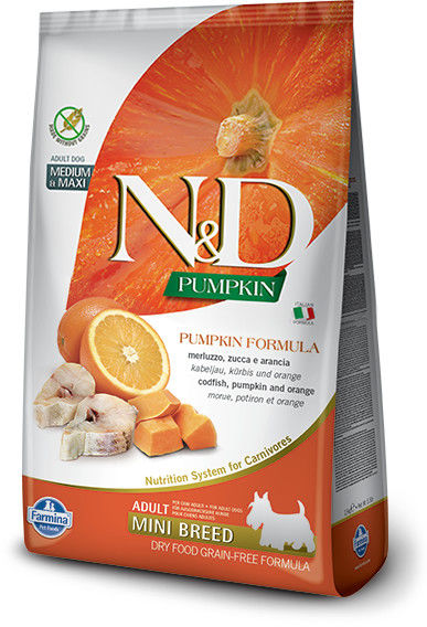 N&D Ocean Dorsz, dynia i pomarańcza 800g, psy dorosłe ras mini