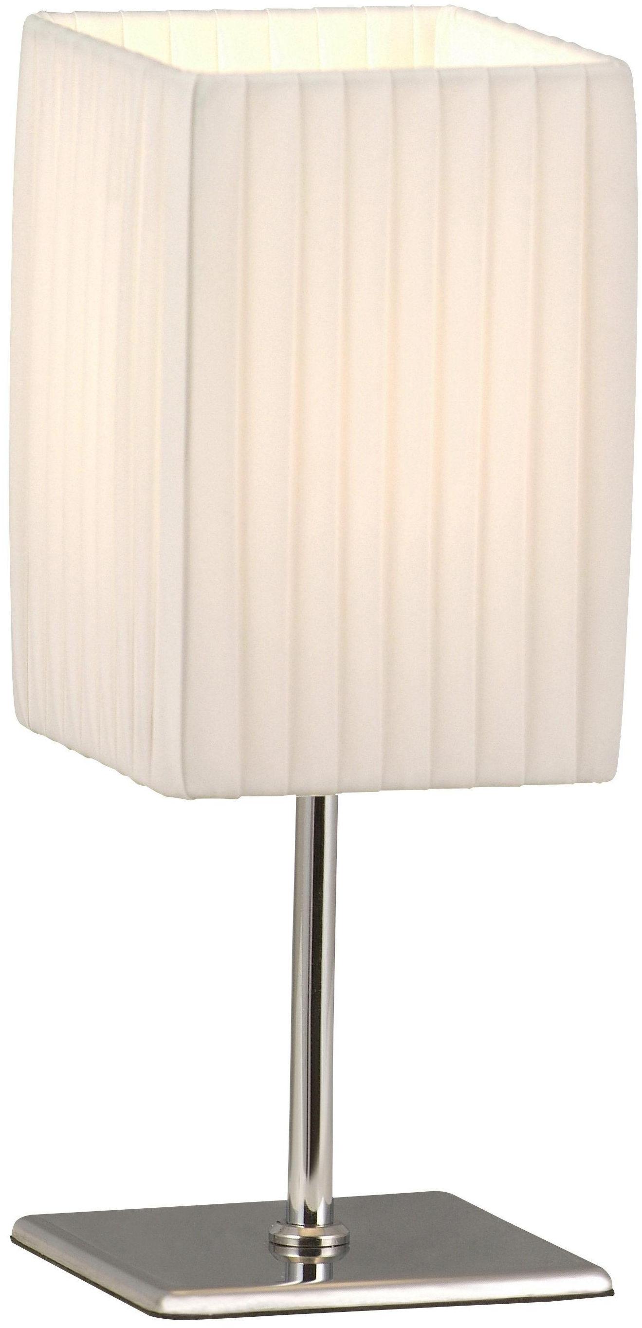Globo lampa stołowa Bailey 24660 chrom, tkanina biała plisowana