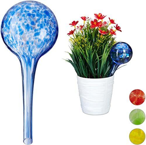 Relaxdays kule nawadniające, zestaw 2-częściowy, nawadnianie roślin i kwiatów, pomoc w podlewaniu roślin w biurze, na urlopie, Ø 6 cm, szkło, niebieski, wys. x śr.: ok. 15 x 6 cm