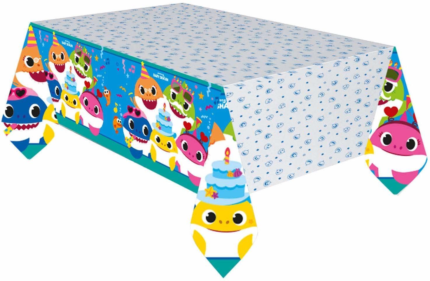 Amscan 9909042 - obrus Baby Shark, wymiary ok. 120 x 180 cm, z papieru, wielokolorowy z zabawnymi motywami rekina w nastrojowym nastroju, na imprezę urodzinową, dekoracja stołu, naczynia jednorazowe