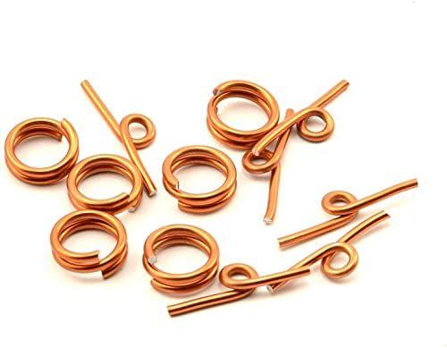 Vaessen Creative Aluminiowe zamknięcie z przetyczką 6 sztuk, aluminium, pomarańczowe miedź, 0,5 x 0,5 x 0,2 cm