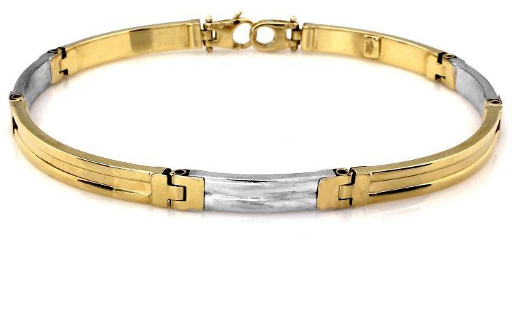 Złota bransoleta męska 585 z białym złotem 7.6g