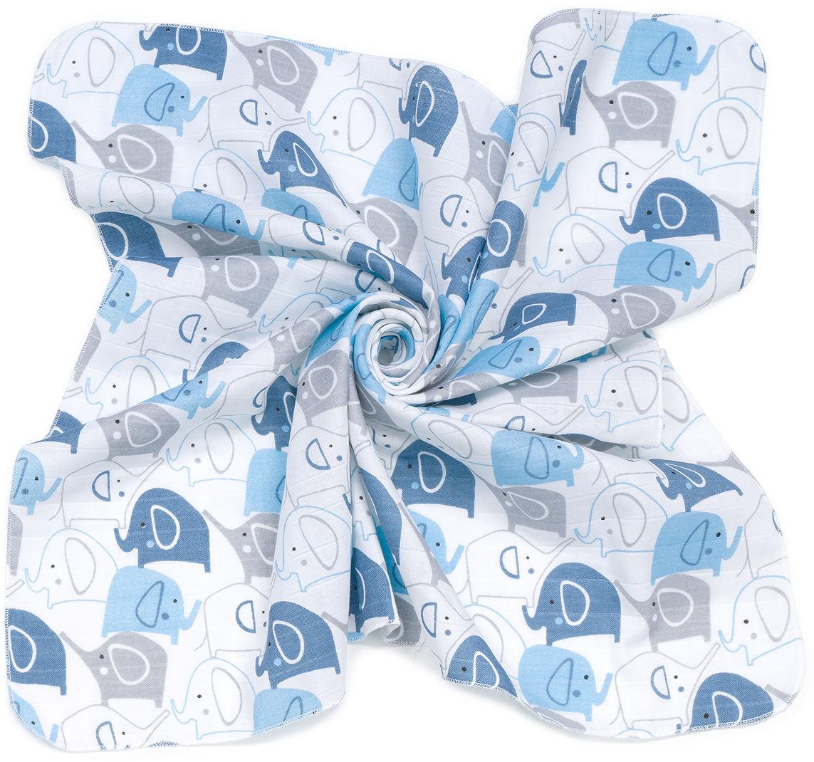 MAMO-TATO Pieluszki muślinowe pielęgnacyjne 35x35 dla niemowląt 3szt - Słonie niebieskie