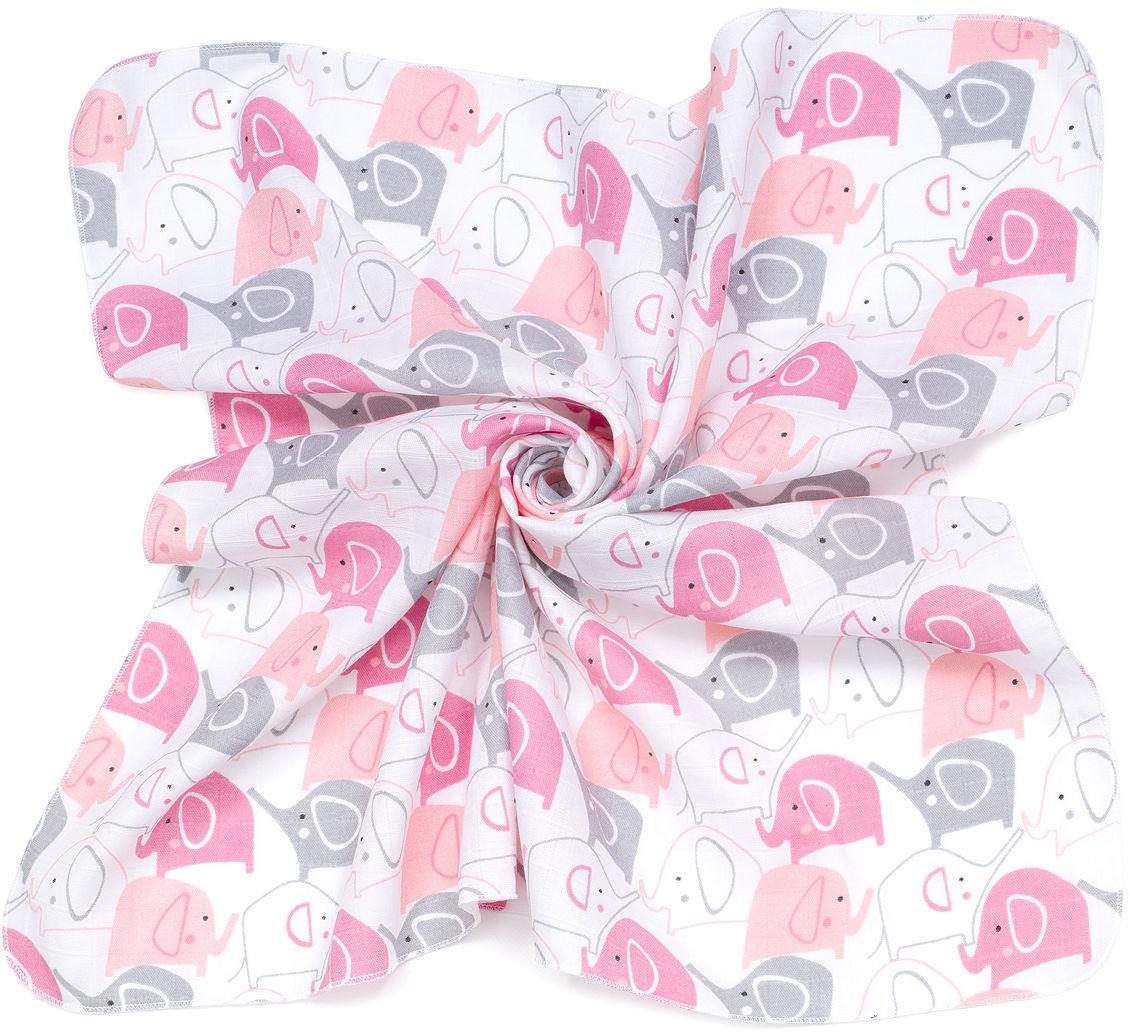 MAMO-TATO Pieluszki muślinowe pielęgnacyjne 35x35 dla niemowląt 3szt - Słonie różowe