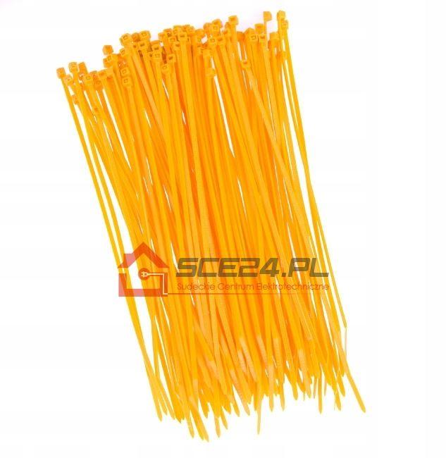 Opaski zaciskowe 3,6 x 300 TRYTKI żółte 100sz