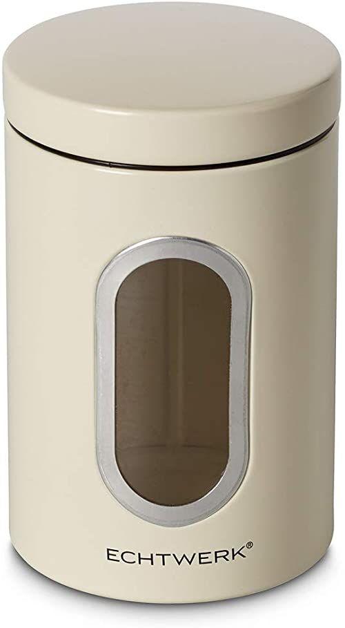 Echtwerk Stylowe pojemniki na zapasy Single-Creme, do przechowywania mąki/cukru/musli/herbaty, metalowa puszka z hermetyczną pokrywką i dużym okienkiem, pojemność 1,4 l