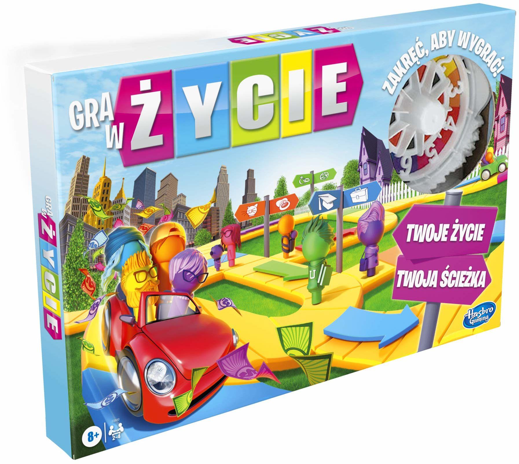 Gra w życie, rodzinna gra planszowa dla od 2 do 4 graczy, gra do zabawy w domu dla dzieci w wieku od 8 lat, pionki w 6 kolorach.
