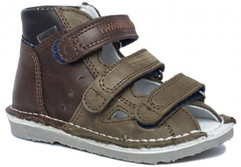 BARTEK 11688-V035 kapcie / sandały profilaktyczne chłopięce - brąz oliwka