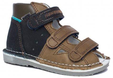 BARTEK 11688-V023 kapcie / sandały profilaktyczne chłopięce - brąz zielony