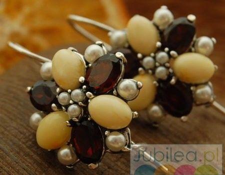 Mariano - srebrne kolczyki perły, granaty i bursztyny