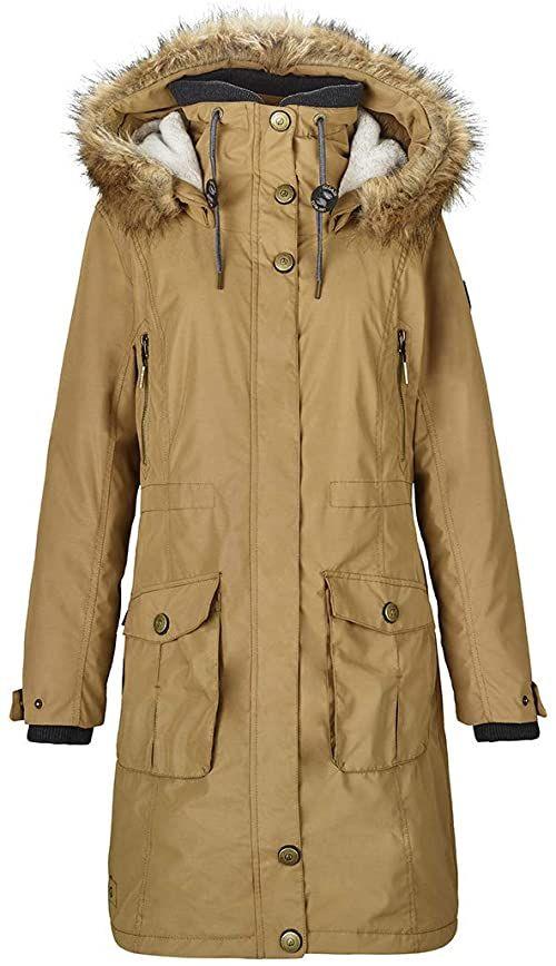 G.I.G.A. DX Dokama damska kurtka funkcyjna/parka/zimowy płaszcz z odpinanym kapturem, słup wody 8000 mm, kolor morelowy, 34