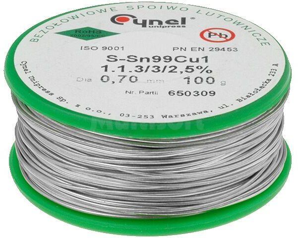 Tinol bezołowiowy Sn-99% Cu-1% 0,7mm/100g Cynel