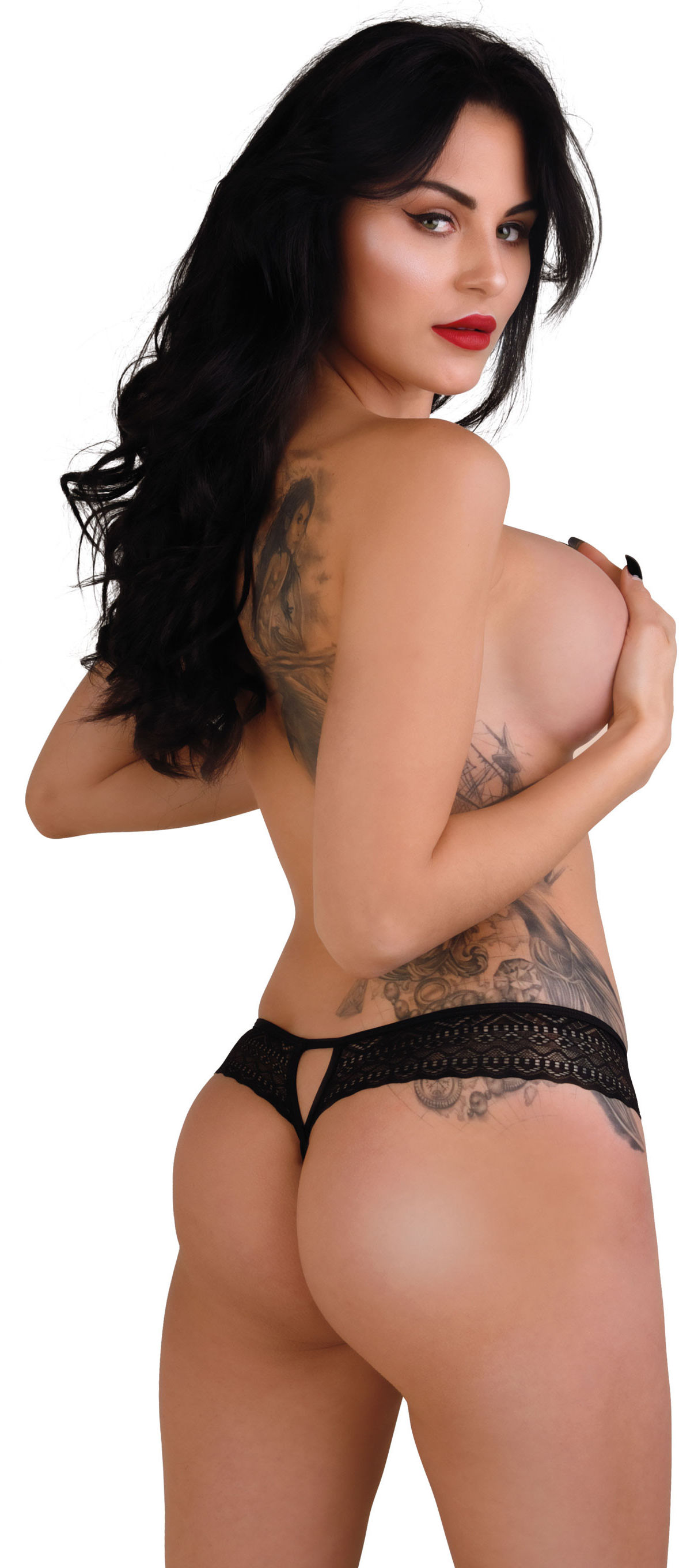 Daring Intimates Roxanne Crotchless String Black