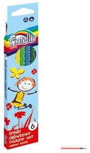 Kredki ołówkowe FIORELLO SUPER SOFT, 6 kolorów, trójkątne 170-2186