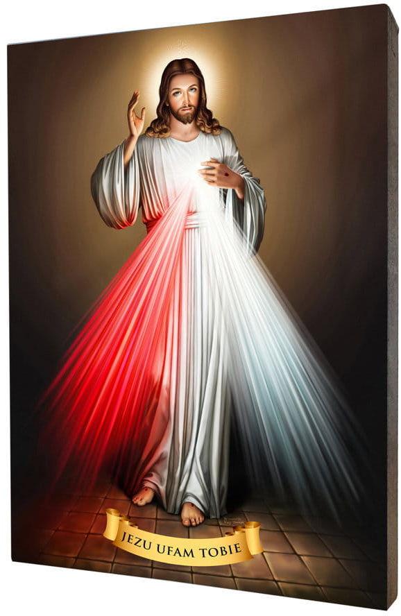 Obraz religijny na desce lipowej, Jezus Miłosierny