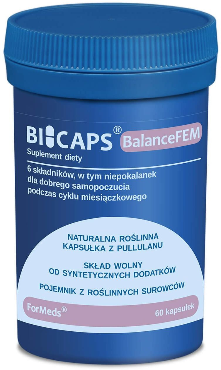 BICAPS BalanceFEM Magnez + B6 + Niepokalanek + Krwawnik + Ashwagandha (60 kaps) ForMeds