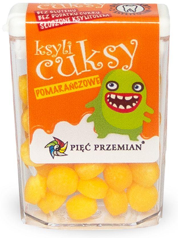 Cukierki z ksylitolem ksylicuksy o smaku pomarańczowym bezglutenowe 13 g - pięć przemian