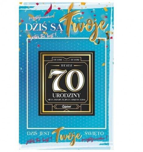 Karnet na 70 urodziny z naklejką na butelkę, niebieski