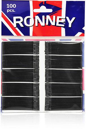 Ronney Profesjonalne wsuwki do włosów Długie, czarne, z kulkami 100 szt.