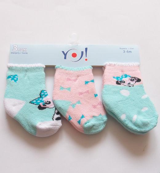 Skarpetki frotte dla niemowlaka 3 pary w zestawie kokardkowym