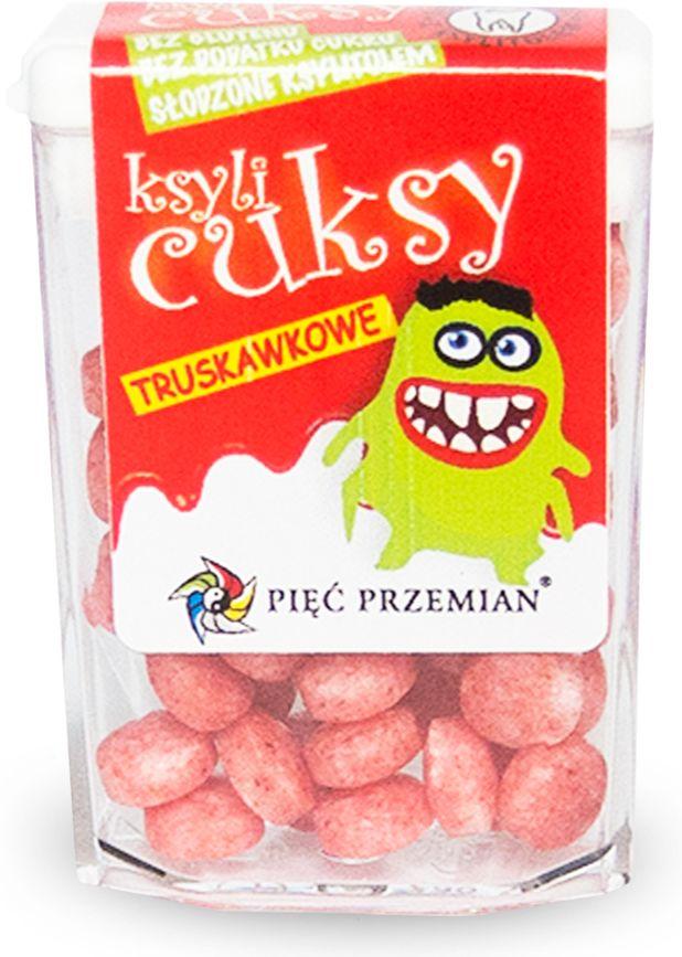 Cukierki z ksylitolu ksylicuksy o smaku truskawkowym bezglutenowe 13g - pięć przemian
