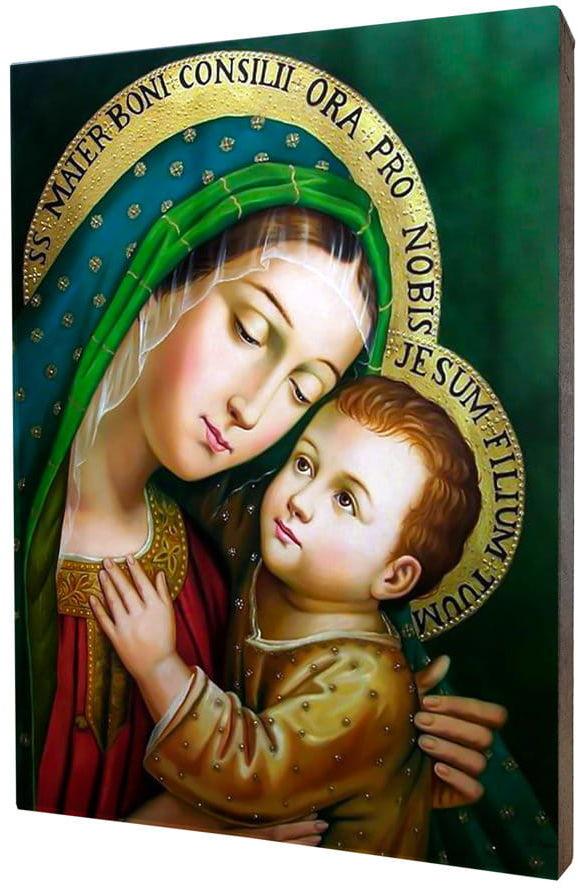 Obraz religijny na desce lipowej, Matka Boża Dobrej Rady