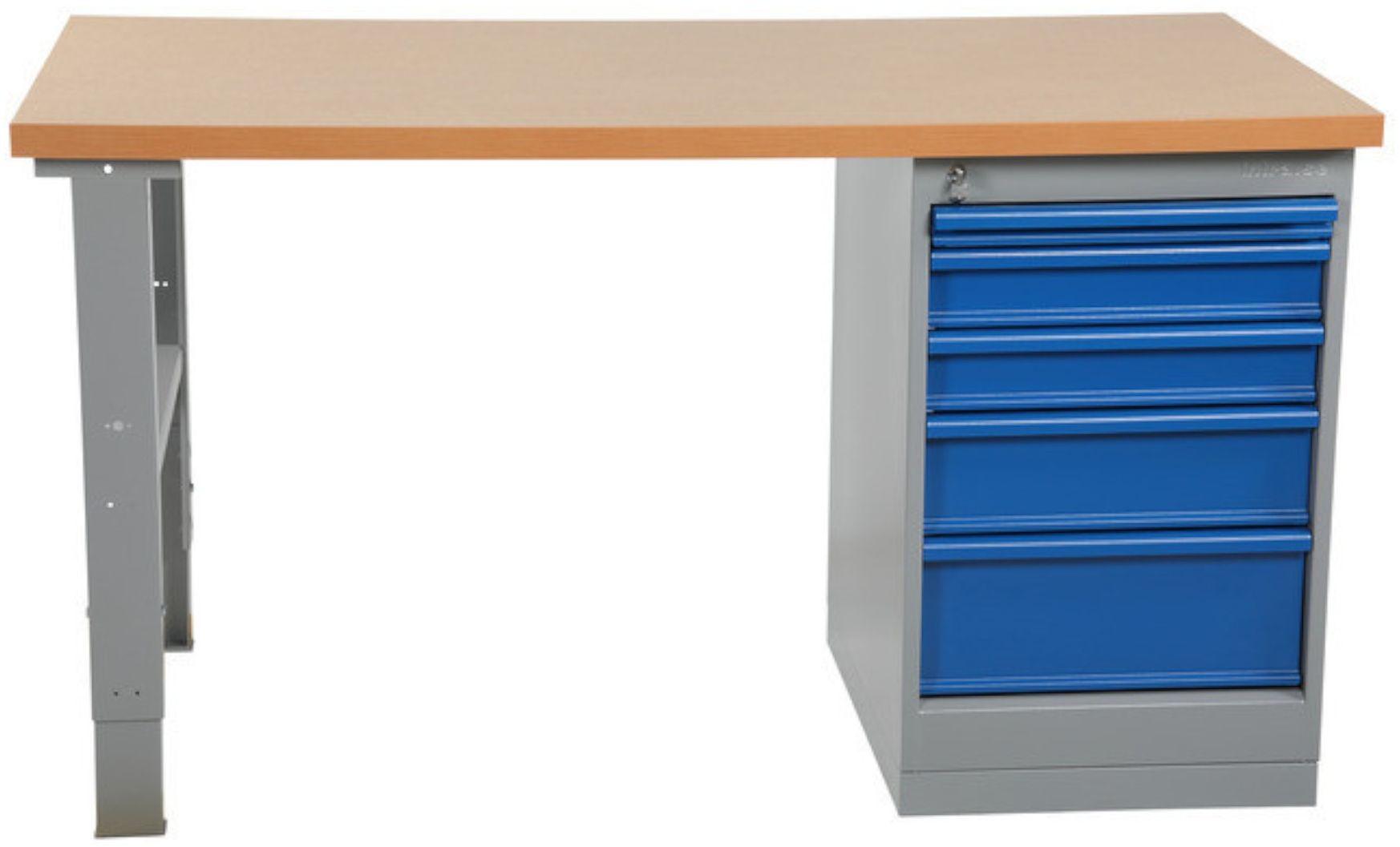 Wytrzymały stół warsztatowy z szafką, blat 1600mm, nośność 500 kg