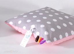 MAMO-TATO Poduszka Minky dwustronna 40x60 Grochy szare / jasny róż