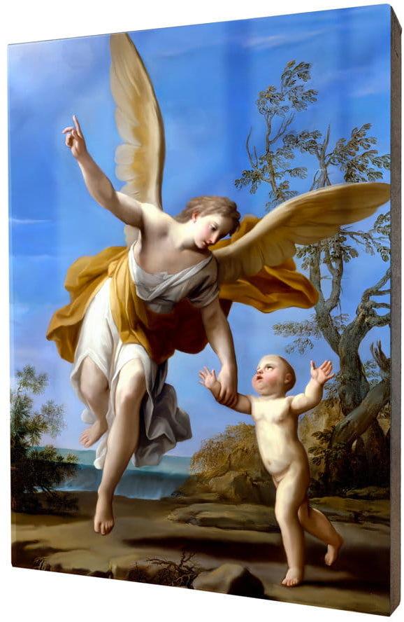 Obraz religijny na desce lipowej, Anioł Stróż
