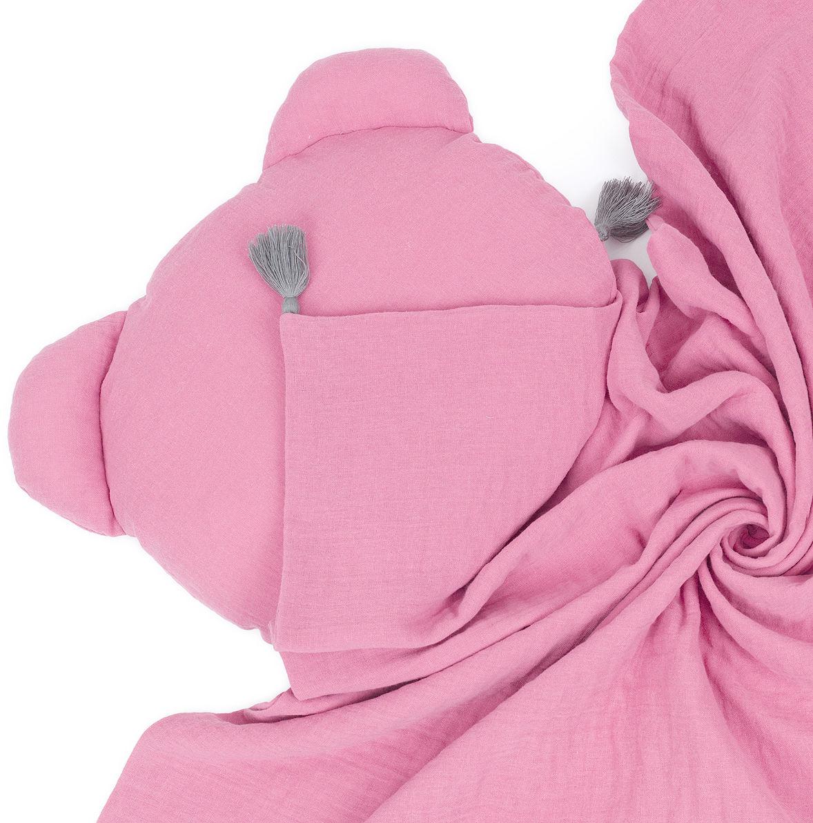 MAMO-TATO Komplet kocyk muślinowy + poduszka MIŚ Double Gauze dla dzieci i niemowląt z chwostami - Różany