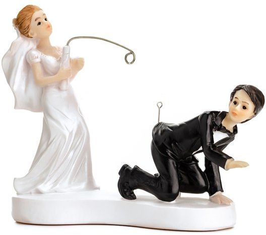 Figurka na tort weselny Młoda Para z wędką PF18
