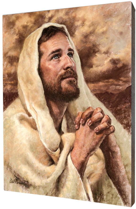 Obraz religijny na desce lipowej, Jezus w modlitwie